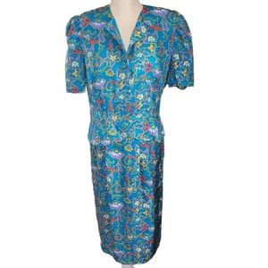 Vintage Adrianna Papell Teal Floral Silk Suit 8